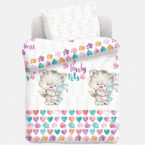 Детский постельный комплект для девочки, Ласковые лапки