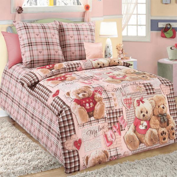 Детское постельное белье для девочки, Мишки
