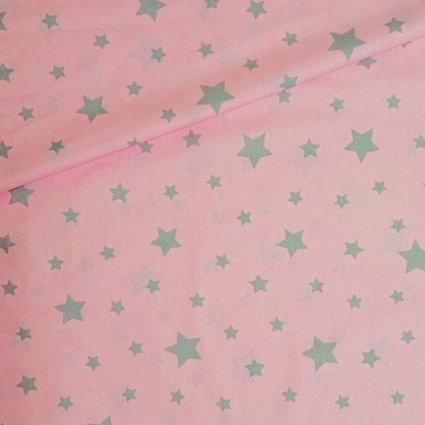 Простынь на резинке, Звезды (розовый)